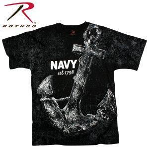 تي شيرت مطبوع Vintage 'Navy Anchor', روثكو, رمادي