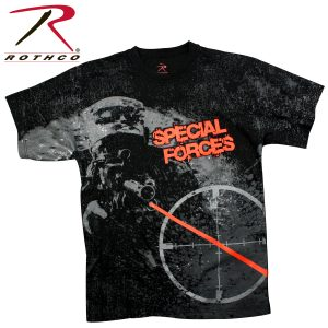 تي شيرت مطبوع Special Forces, روثكو, اسود